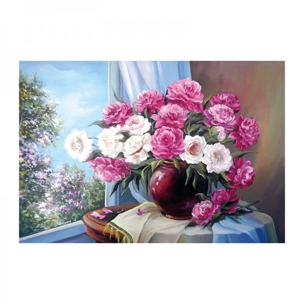 Scene Blossoming Roses In Front Of The Window Diamond Art